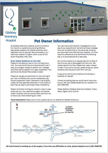 Pet Owners Information Sheet